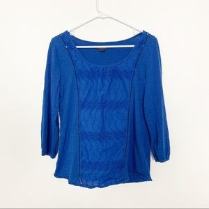 Lucky Brand Eyelet Peasant Top Blue M #2006